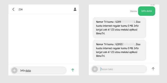 Cara Cek Kuota Internet Tri via SMS