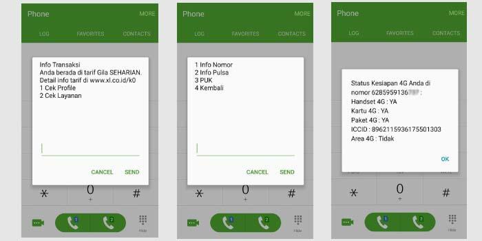 cara cek nomor XL via dial kode